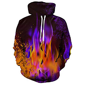 cheap Athleisure Wear-men's hoodies 3d printed colorful fire graphic pullover hoodie funny black sweatshirt for daily sports wear size s