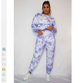cheap Running & Jogging-Women's 2 Piece Tracksuit Sweatsuit Street Athleisure 2pcs Winter Long Sleeve Thermal Warm Breathable Soft Fitness Gym Workout Running Jogging Training Sportswear Normal Blue+Yellow Purple Blue Sky