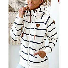 cheap Women-Women's Hoodie Pullover Striped Zipper Pocket Daily Basic Casual Hoodies Sweatshirts  Loose Gray Green White
