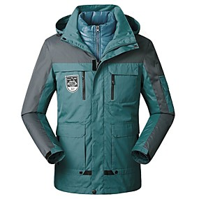 cheap Camping, Hiking & Backpacking-Women's Men's Hiking Jacket Hoodie Jacket Autumn / Fall Winter Spring Outdoor Thermal Warm Windproof Breathable Soft Jacket 3-in-1 Jacket Winter Jacket Camping / Hiking Hunting Climbing Dark Grey