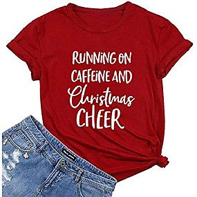 cheap Athleisure Wear-running on caffeine and christmas cheer shirt women funny christmas letter print short sleeve top tee red