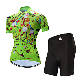 cheap Cycling & Motorcycling-21Grams Women's Short Sleeve Cycling Jersey with Shorts Summer Polyester Yellow Red Blue Stripes Floral Botanical Bike Clothing Suit UV Resistant 3D Pad Quick Dry Moisture Wicking Breathable Sports