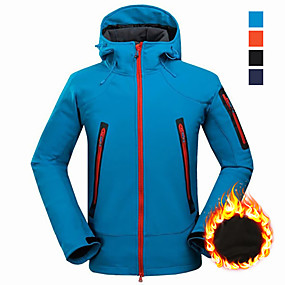 cheap Camping, Hiking & Backpacking-Men's Hiking Softshell Jacket Hiking Jacket Winter Outdoor Thermal Warm Waterproof Windproof UV Resistant Jacket Winter Jacket Top Black Blue Orange Camping / Hiking Hunting Fishing M L XL XXL XXXL
