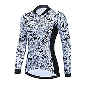 cheap Cycling & Motorcycling-21Grams Women's Long Sleeve Cycling Jersey White Bike Jersey Top Mountain Bike MTB Road Bike Cycling Thermal Warm Breathable Quick Dry Sports Clothing Apparel / Stretchy / Athletic