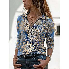 cheap Women-Women's Blouse T shirt Shirt Floral Graphic Prints Long Sleeve Quarter Zip Print V Neck Shirt Collar Basic Tops Blue Purple Green