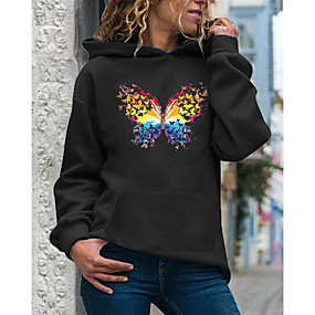 cheap Athleisure Wear-Women's Hoodie Pullover Butterfly Daily Casual Hoodies Sweatshirts  Loose White Purple Red