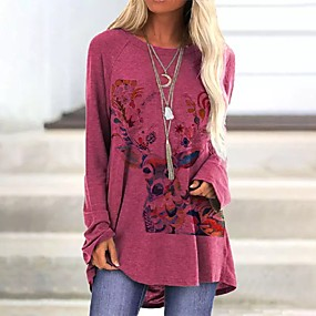 cheap Athleisure Wear-Women's Tshirt Dress Floral Tie Dye Reindeer Long Sleeve Patchwork Print Round Neck Tops Chinoiserie Basic Top Wine