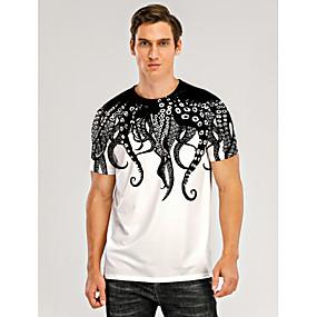 cheap Athleisure Wear-Men's T shirt 3D Print Graphic 3D Muscle Print Short Sleeve Daily Tops Black / White
