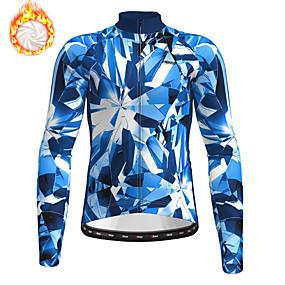 cheap Cycling & Motorcycling-21Grams Men's Long Sleeve Cycling Jersey Winter Fleece Blue Camo / Camouflage Bike Top Mountain Bike MTB Road Bike Cycling Fleece Lining Warm Sports Clothing Apparel / Stretchy / Athleisure