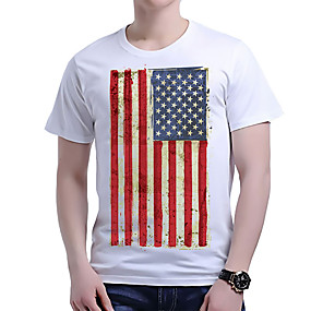 cheap Athleisure Wear-Men's Unisex Tee T shirt National Flag Plus Size Short Sleeve Causal Tops Cotton Basic Vacation 1 2 3