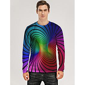 cheap Athleisure Wear-Men's T shirt 3D Print Graphic Optical Illusion 3D Print Long Sleeve Daily Tops Rainbow