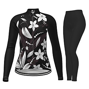 cheap Cycling & Motorcycling-21Grams Women's Long Sleeve Cycling Jersey with Tights Winter Polyester Black Novelty Floral Botanical Bike Jersey Tights Clothing Suit Quick Dry Moisture Wicking Breathable Back Pocket Sports