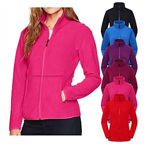 cheap Women-Women's Hiking Jacket Hiking Fleece Jacket Winter Outdoor Solid Color Thermal Warm Windproof Breathable Warm Jacket Winter Fleece Jacket Top Fleece Single Slider Camping / Hiking Hunting Ski
