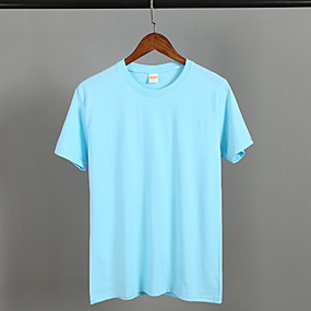 cheap Athleisure Wear-Men's Unisex Tee T shirt Solid Color Short Sleeve Practise Tops Simple Solid Color Yellow round neck Pink round neck Sky blue round neck