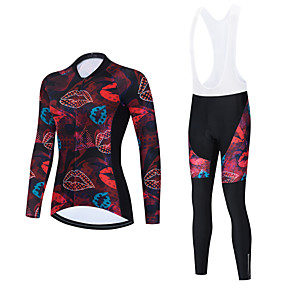 cheap Cycling & Motorcycling-21Grams Women's Long Sleeve Cycling Jersey with Bib Tights Cycling Jersey with Tights Winter Black Red Black / White Bike Breathable Quick Dry Sports Graphic Mountain Bike MTB Road Bike Cycling