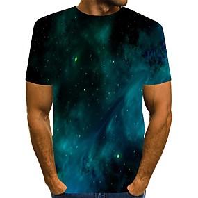 cheap Athleisure Wear-Men's T shirt 3D Print Galaxy Graphic Print Short Sleeve Daily Tops Streetwear Green