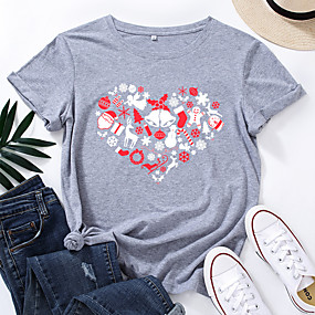 cheap Athleisure Wear-Women's Christmas T-shirt Heart Graphic Prints Print Round Neck Tops 100% Cotton Basic Christmas Basic Top Black Red Peach