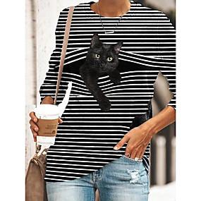 cheap Women-Women's Tunic T shirt Striped Cat 3D Cartoon Long Sleeve Print Round Neck Basic Tops Black Blue Yellow