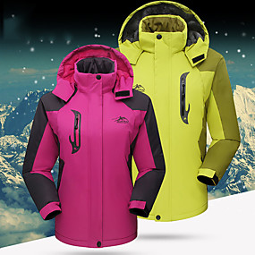 cheap Camping, Hiking & Backpacking-Women's Hiking Jacket Hoodie Jacket Ski Jacket Autumn / Fall Winter Outdoor Solid Color Thermal Warm Waterproof Windproof Insulated Jacket Winter Jacket Top Fleece Skiing Camping / Hiking Climbing