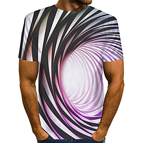 cheap Athleisure Wear-Men's T shirt 3D Print Graphic Optical Illusion 3D Print Short Sleeve Daily Tops Streetwear Exaggerated Rainbow
