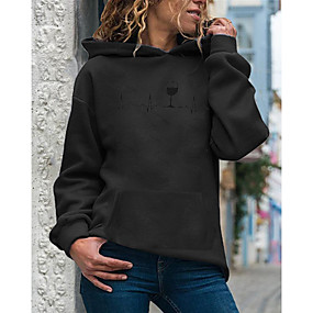 cheap Athleisure Wear-Women's Hoodie Pullover Print Daily Casual Hoodies Sweatshirts  Loose White Purple Red
