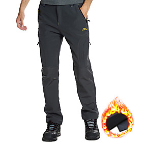 cheap Camping, Hiking & Backpacking-Men's Hiking Pants Trousers Softshell Pants Solid Color Winter Outdoor Regular Fit Thermal Warm Waterproof Windproof Fleece Lining Pants / Trousers Bottoms Dark Grey Army Green Black Camping / Hiking
