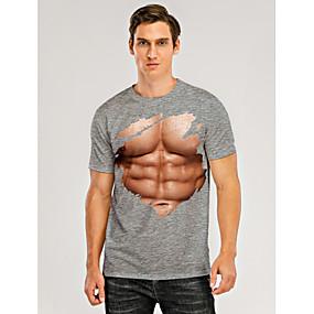 cheap Athleisure Wear-Men's T shirt 3D Print Graphic 3D Muscle Print Short Sleeve Daily Tops Gray