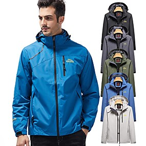 cheap Camping, Hiking & Backpacking-Men's Hiking Jacket Hoodie Jacket Ski Jacket Autumn / Fall Winter Spring Outdoor Patchwork Windproof Warm Breathable Detachable Cap Jacket Top Single Slider Hunting Fishing Climbing Cream Black Army