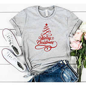 cheap Athleisure Wear-Women's Christmas T-shirt Graphic Prints Letter Print Round Neck Tops 100% Cotton Basic Christmas Basic Top White Black Gray