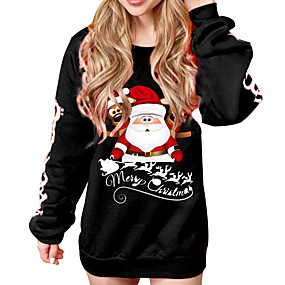 cheap Athleisure Wear-Women's Pullover Sweatshirt Graphic Character Letter Christmas Daily Casual Christmas Hoodies Sweatshirts  Black Red
