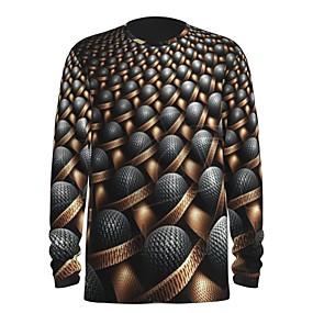 cheap Athleisure Wear-Men's Tee T shirt Shirt 3D Print Graphic Abstract 3D 3D Print Print Long Sleeve Holiday Tops Chic & Modern Round Neck Khaki / Fall / Summer