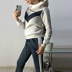 cheap Athleisure Wear-Women's Drawstring Patchwork Hoodie Color Block Sport Athleisure Hoodie Pants Clothing Suit Long Sleeve Warm Comfortable Everyday Use Casual / Winter / 2pcs / pack