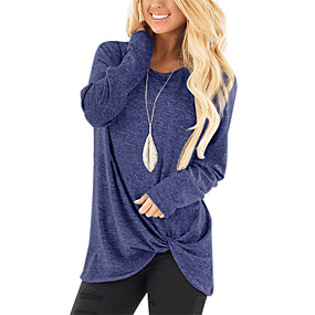 cheap Athleisure Wear-women's long sleeve casual blouse shirts knot tie knot front loose tunic o neck tops (khaki 1, x-large)