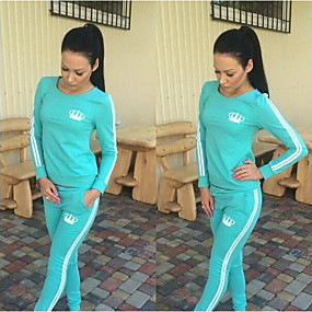 cheap Running & Jogging-Women's 2 Piece Tracksuit Sweatsuit Street Casual 2pcs Winter Long Sleeve Thermal Warm Breathable Soft Fitness Gym Workout Jogging Training Sportswear Stripes Normal Sweatshirt Track pants Black Red
