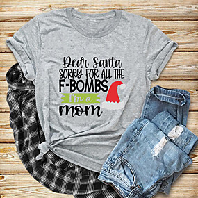 cheap Athleisure Wear-Women's Christmas T-shirt Graphic Prints Letter Print Round Neck Tops 100% Cotton Basic Christmas Basic Top White Black Purple