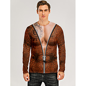 cheap Athleisure Wear-Men's T shirt 3D Print Graphic 3D Muscle Print Long Sleeve Daily Tops Brown