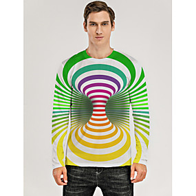 cheap Athleisure Wear-Men's T shirt 3D Print Graphic Optical Illusion 3D Print Long Sleeve Daily Tops Green / White