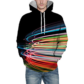 cheap Athleisure Wear-Men's Pullover Hoodie Sweatshirt Graphic Abstract 3D Front Pocket Daily 3D Print 3D Print Casual Hoodies Sweatshirts  Rainbow