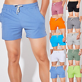 cheap Exercise, Fitness & Yoga-Men's Running Shorts Athletic Shorts Bottoms Drawstring Cotton Fitness Gym Workout Running Breathable Quick Dry Soft Plus Size Sport Solid Colored Forest Green Neon Green White Black Orange Light Grey