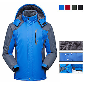 cheap Camping, Hiking & Backpacking-Men's Hiking Jacket Ski Jacket Autumn / Fall Winter Outdoor Patchwork Thermal Warm Waterproof Windproof Quick Dry Jacket Winter Jacket Single Slider Hunting Fishing Climbing Black Red Army Green