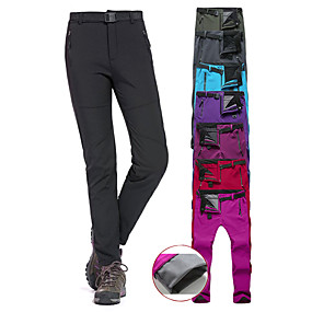 cheap Camping, Hiking & Backpacking-Women's Hiking Pants Trousers Softshell Pants Winter Outdoor Slim Fit Thermal Warm Waterproof Windproof Fleece Lining Softshell Cotton Pants / Trousers Bottoms Purple Red Fuchsia Jade Black Camping