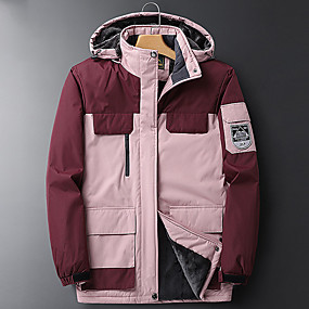cheap Camping, Hiking & Backpacking-Women's Hiking Jacket Winter Outdoor Thermal Warm Waterproof Windproof Breathable Jacket Top Hunting Climbing Camping / Hiking / Caving Black Fuchsia Burgundy