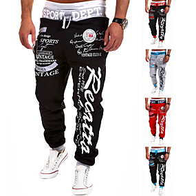 cheap Exercise, Fitness & Yoga-Men's Sweatpants Joggers Jogger Pants Track Pants Street Bottoms Harem Drawstring Cotton Winter Fitness Gym Workout Running Active Training Jogging Breathable Soft Sport Black / Red Red Black / White