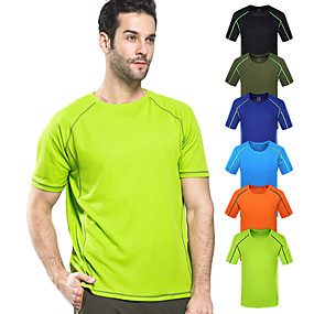cheap Running & Jogging-Wolfcavalry® Men's Hiking Tee shirt Short Sleeve Crew Neck Tee Tshirt Top Outdoor Quick Dry Breathable Stretchy Comfortable Spring Summer POLY Solid Color Black Army Green Blue Hunting Fishing