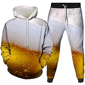 cheap Athleisure Wear-Men's 3D Hoodies Set Graphic 3D Beer 2 Piece Front Pocket Hooded Daily 3D Print 3D Print Casual Hoodies Sweatshirts  Long Sleeve White Black Blue