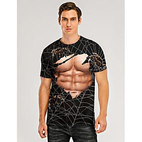 cheap Athleisure Wear-Men's T shirt 3D Print Graphic 3D Muscle Print Short Sleeve Daily Tops Black