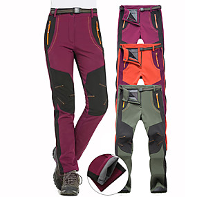 cheap Women-Women's Hiking Pants Trousers Softshell Pants Patchwork Winter Outdoor Waterproof Windproof Warm Breathable Pants / Trousers Bottoms Army Green Burgundy Orange Hunting Fishing Camping / Hiking