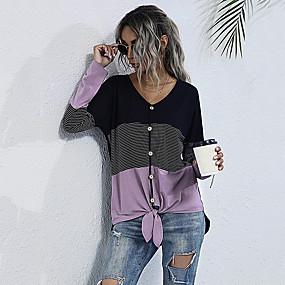 cheap Athleisure Wear-Women's T-shirt Color Block Long Sleeve Patchwork V Neck Tops Cotton Basic Basic Top Black