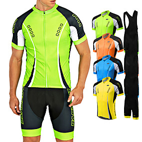 cheap Cycling & Motorcycling-21Grams Men's Short Sleeve Cycling Jersey with Bib Shorts Summer Coolmax® Lycra Yellow Red Light Green Bike Clothing Suit Quick Dry Breathable Back Pocket Sports Patterned Mountain Bike MTB Road Bike