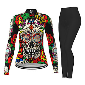 cheap Cycling & Motorcycling-21Grams Women's Long Sleeve Cycling Jersey with Tights Winter Polyester Red Sugar Skull Novelty Skull Bike Jersey Tights Clothing Suit Quick Dry Moisture Wicking Breathable Back Pocket Sports